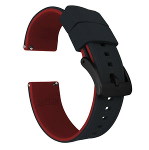 Fossil Gen 5 | Elite Silicone | Black Top / Crimson Red Bottom Fossil Gen 5 Barton Watch Bands Black PVD Long