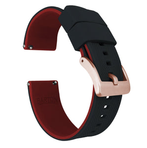 Fossil Gen 5 | Elite Silicone | Black Top / Crimson Red Bottom Fossil Gen 5 Barton Watch Bands Rose Gold Long