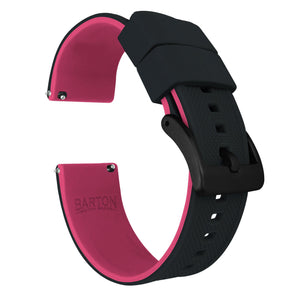 Fossil Gen 5 | Elite Silicone | Black Top / Pink Bottom Fossil Gen 5 Barton Watch Bands Black PVD