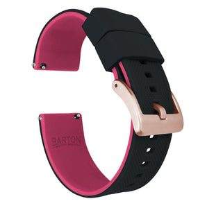 Fossil Gen 5 | Elite Silicone | Black Top / Pink Bottom Fossil Gen 5 Barton Watch Bands Rose Gold
