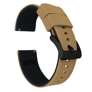 Load image into Gallery viewer, Fossil Gen 5 | Elite Silicone | Khaki Tan Top / Black Bottom Fossil Gen 5 Barton Watch Bands Black PVD