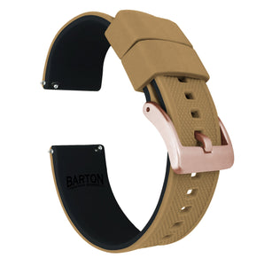 Fossil Gen 5 | Elite Silicone | Khaki Tan Top / Black Bottom Fossil Gen 5 Barton Watch Bands Rose Gold