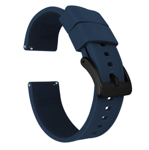 Fossil Gen 5 | Elite Silicone | Navy Blue Fossil Gen 5 Barton Watch Bands Black PVD Long
