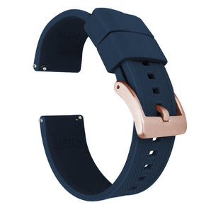 Fossil Gen 5 | Elite Silicone | Navy Blue Fossil Gen 5 Barton Watch Bands Rose Gold Long