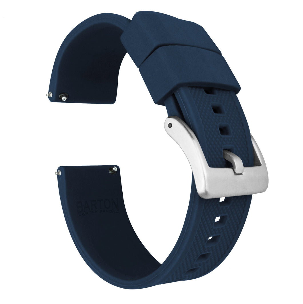 Fossil Gen 5 | Elite Silicone | Navy Blue Fossil Gen 5 Barton Watch Bands Stainless Steel Long