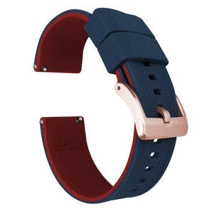 Fossil Gen 5 | Elite Silicone | Navy Blue Top / Crimson Red Bottom Fossil Gen 5 Barton Watch Bands Rose Gold