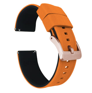 Load image into Gallery viewer, Fossil Gen 5 | Elite Silicone | Pumpkin Orange Top / Black Bottom Fossil Gen 5 Barton Watch Bands Rose Gold