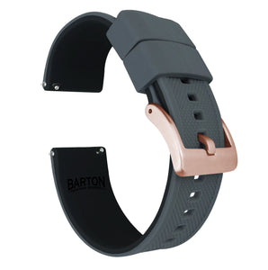 Fossil Gen 5 | Elite Silicone | Smoke Grey Top / Black Bottom Fossil Gen 5 Barton Watch Bands Rose Gold Long