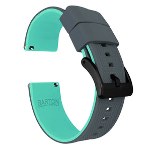 Fossil Gen 5 | Elite Silicone | Smoke Grey Top / Mint Green Bottom Fossil Gen 5 Barton Watch Bands Black PVD