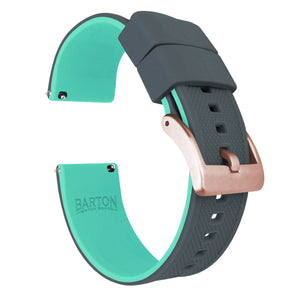Fossil Gen 5 | Elite Silicone | Smoke Grey Top / Mint Green Bottom Fossil Gen 5 Barton Watch Bands Rose Gold