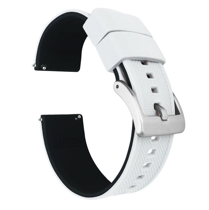 Fossil Gen 5 | Elite Silicone | White Top / Black Bottom Fossil Gen 5 Barton Watch Bands Stainless Steel