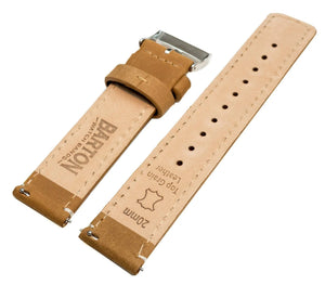 Fossil Gen 5 | Gingerbread Brown Leather & Linen White Stitching Fossil Gen 5 Barton Watch Bands