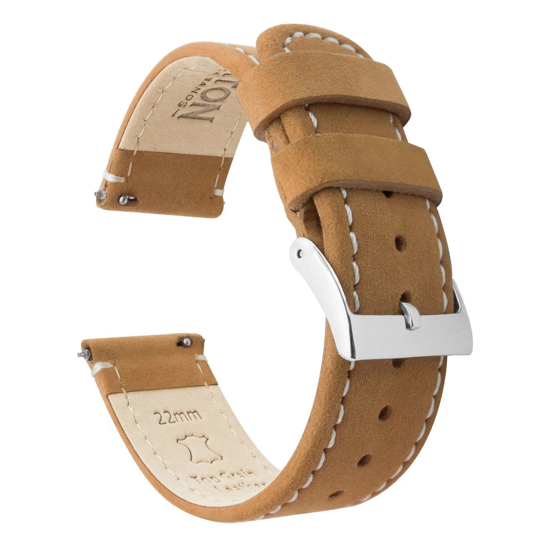 Fossil Gen 5 | Gingerbread Brown Leather & Linen White Stitching Fossil Gen 5 Barton Watch Bands Stainless Steel