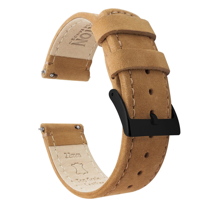 Fossil Gen 5 | Gingerbread Brown Leather & Stitching Fossil Gen 5 Barton Watch Bands Black PVD