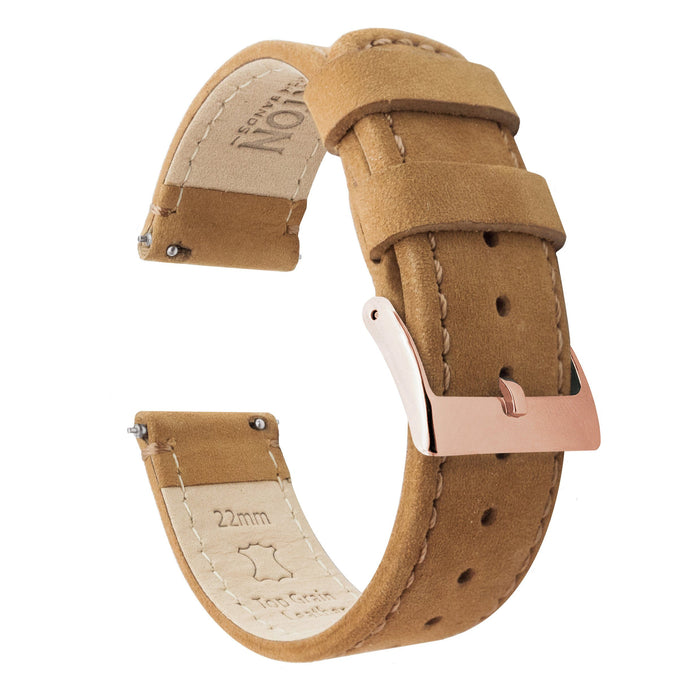 Fossil Gen 5 | Gingerbread Brown Leather & Stitching Fossil Gen 5 Barton Watch Bands Rose Gold