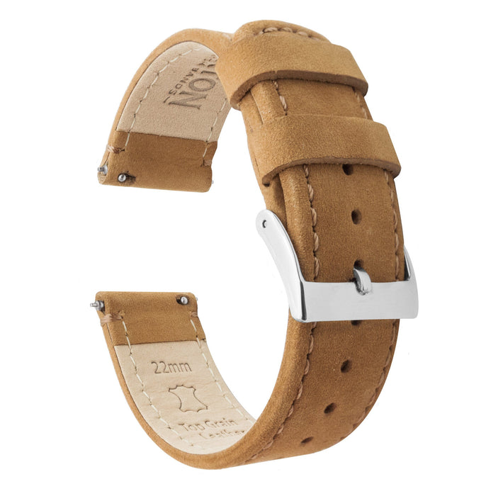 Fossil Gen 5 | Gingerbread Brown Leather & Stitching Fossil Gen 5 Barton Watch Bands Stainless Steel