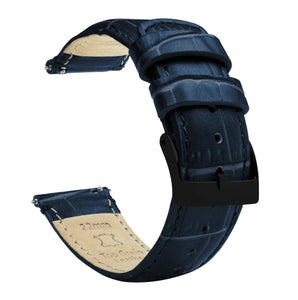 Fossil Gen 5 | Navy Blue Alligator Grain Leather Fossil Gen 5 Barton Watch Bands Black PVD