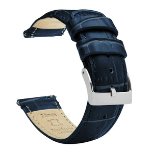 Fossil Gen 5 | Navy Blue Alligator Grain Leather Fossil Gen 5 Barton Watch Bands Stainless Steel