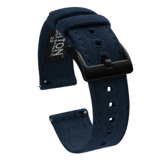 Load image into Gallery viewer, Fossil Gen 5 | Navy Blue Canvas Fossil Gen 5 Barton Watch Bands Black PVD