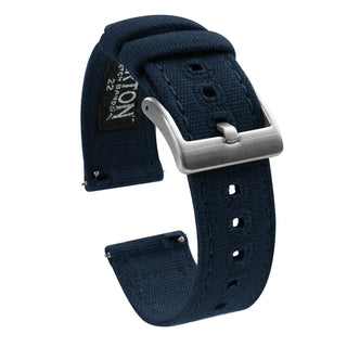 Load image into Gallery viewer, Fossil Gen 5 | Navy Blue Canvas Fossil Gen 5 Barton Watch Bands Stainless Steel
