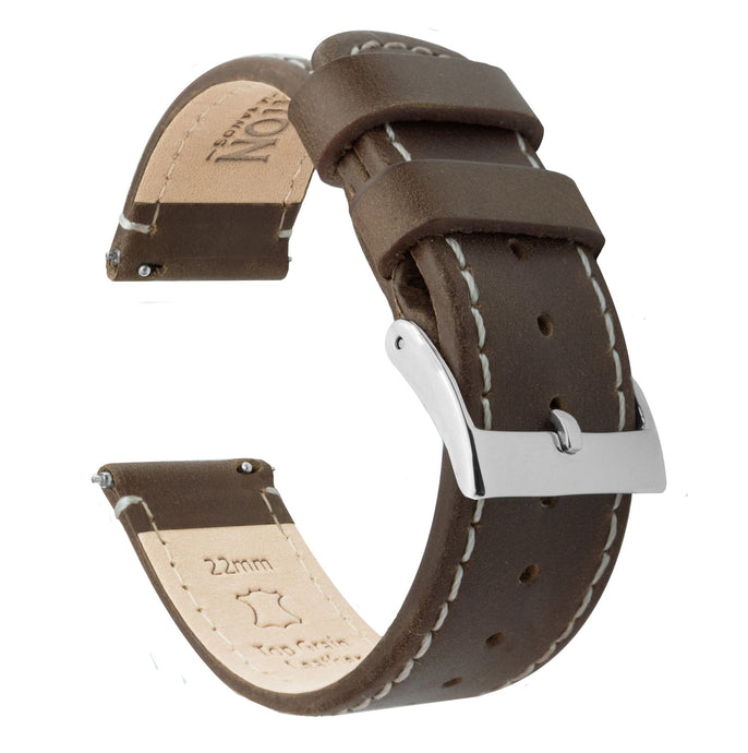 Fossil Gen 5 | Saddle Brown Leather & Linen White Stitching Fossil Gen 5 Barton Watch Bands Stainless Steel