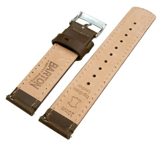 Load image into Gallery viewer, Fossil Gen 5 | Saddle Brown Leather & Stitching Fossil Gen 5 Barton Watch Bands