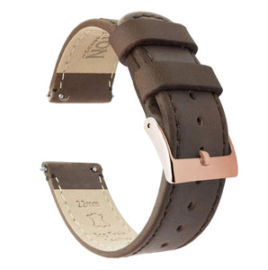 Fossil Gen 5 | Saddle Brown Leather & Stitching Fossil Gen 5 Barton Watch Bands Rose Gold