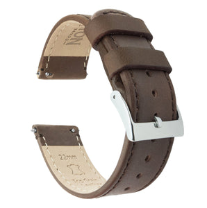 Fossil Gen 5 | Saddle Brown Leather & Stitching Fossil Gen 5 Barton Watch Bands Stainless Steel