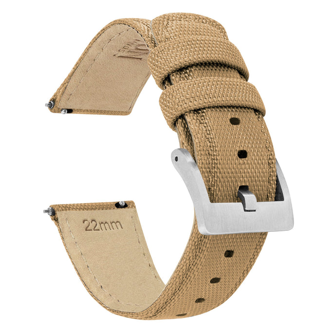 Fossil Gen 5 | Sailcloth Quick Release | Khaki Tan Fossil Gen 5 Barton Watch Bands Stainless Steel