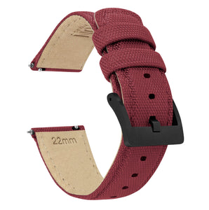 Fossil Gen 5 | Sailcloth Quick Release | Raspberry Red Fossil Gen 5 Barton Watch Bands Black PVD