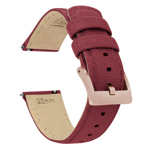 Fossil Gen 5 | Sailcloth Quick Release | Raspberry Red Fossil Gen 5 Barton Watch Bands Rose Gold