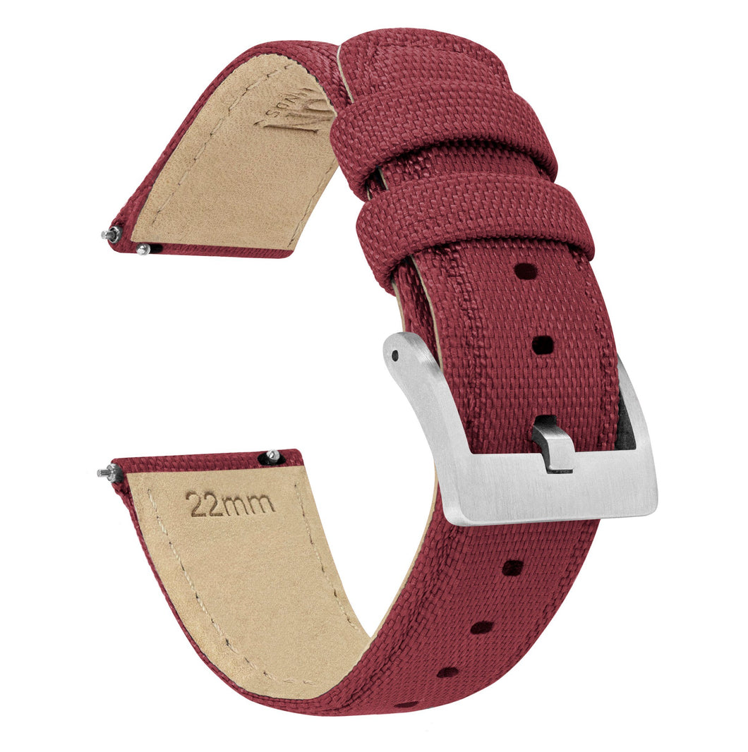 Fossil Gen 5 | Sailcloth Quick Release | Raspberry Red Fossil Gen 5 Barton Watch Bands Stainless Steel