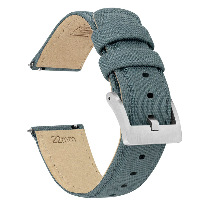 Fossil Gen 5 | Sailcloth Quick Release | Slate Grey Fossil Gen 5 Barton Watch Bands Stainless Steel