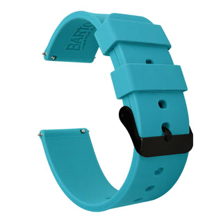Load image into Gallery viewer, Fossil Gen 5 | Silicone | Aqua Blue Fossil Gen 5 Barton Watch Bands Black PVD