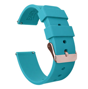 Fossil Gen 5 | Silicone | Aqua Blue Fossil Gen 5 Barton Watch Bands Rose Gold