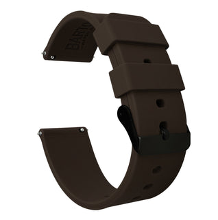 Load image into Gallery viewer, Fossil Gen 5 | Silicone | Chocolate Brown Fossil Gen 5 Barton Watch Bands Black PVD