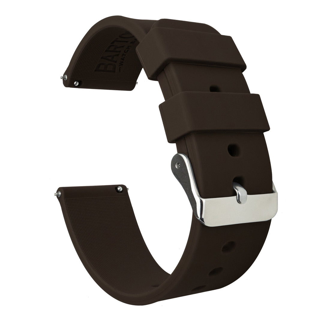 Fossil Gen 5 | Silicone | Chocolate Brown Fossil Gen 5 Barton Watch Bands Stainless Steel