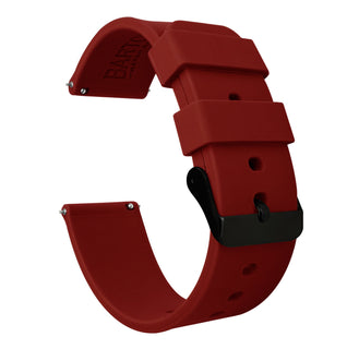 Load image into Gallery viewer, Fossil Gen 5 | Silicone | Crimson Red Fossil Gen 5 Barton Watch Bands Black PVD