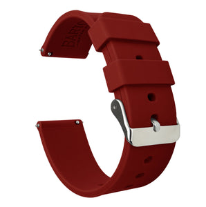 Fossil Gen 5 | Silicone | Crimson Red Fossil Gen 5 Barton Watch Bands Stainless Steel