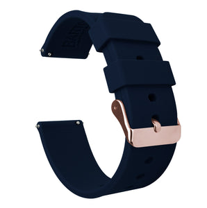 Fossil Gen 5 | Silicone | Navy Blue Fossil Gen 5 Barton Watch Bands Rose Gold