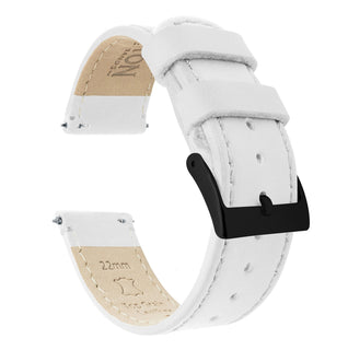 Load image into Gallery viewer, Fossil Gen 5 | White Leather & Stitching Fossil Gen 5 Barton Watch Bands Black PVD