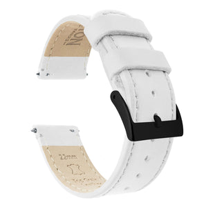 Fossil Gen 5 | White Leather & Stitching Fossil Gen 5 Barton Watch Bands Black PVD