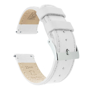 Fossil Gen 5 | White Leather & Stitching Fossil Gen 5 Barton Watch Bands Stainless Steel
