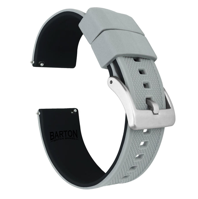 Fossil Q | Elite Silicone | Cool Grey Top / Black Bottom Fossil Q Band Barton Watch Bands Venture | Tailor Hybrid (18mm)