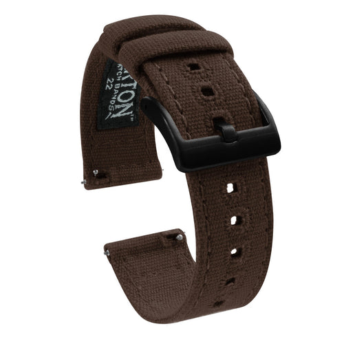 Fossil Sport | Chocolate Brown Canvas Fossil Sport Barton Watch Bands 43mm Fossil Sport Black PVD