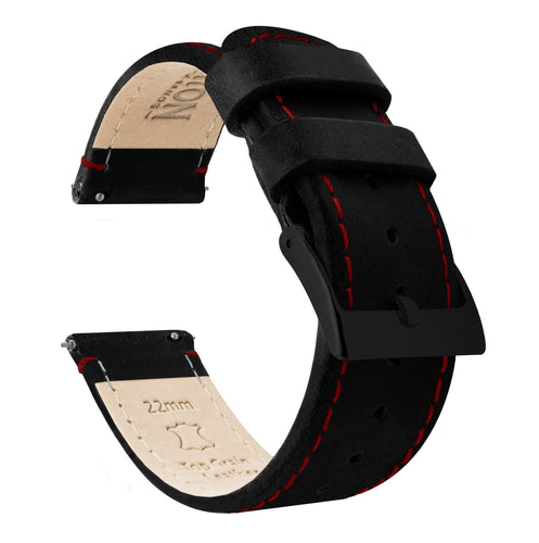Gear S2 Classic | Black Leather & Crimson Red Stitching Gear S2 Classic Watch Band Barton Watch Bands Black PVD
