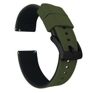 Gear S2 Classic | Elite Silicone | Army Green Top / Black Bottom Gear S2 Classic Watch Band Barton Watch Bands Black PVD