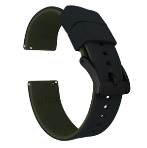 Gear S2 Classic | Elite Silicone | Black Top / Army Green Bottom Gear S2 Classic Watch Band Barton Watch Bands Black PVD