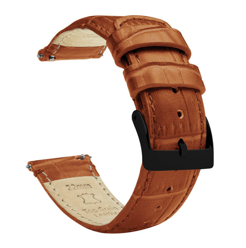 Gear S2 Classic | Toffee Brown Alligator Grain Leather Gear S2 Classic Watch Band Barton Watch Bands Black PVD