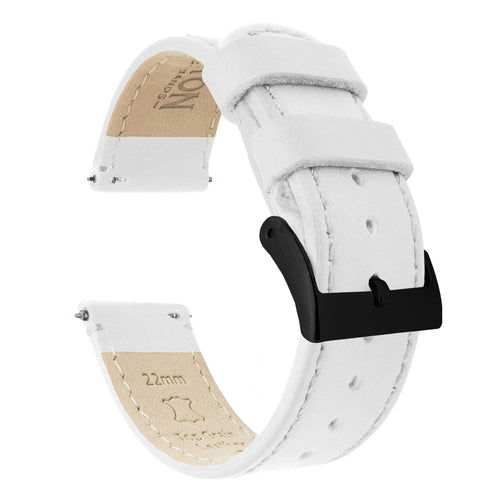 Gear S2 Classic | White Leather & Stitching Gear S2 Classic Watch Band Barton Watch Bands Black PVD